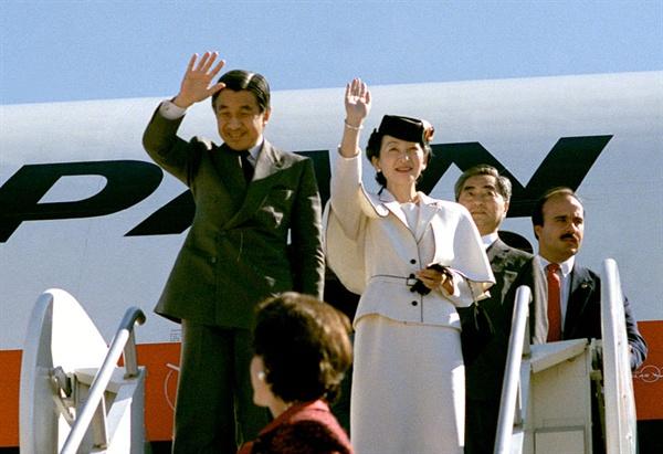 왕세자 시절인 1987년에 미국을 방문하는 아키히토.