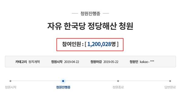 30일 오후 3시 20분 기준으로 '자유한국당 해산 청원' 참여자 수가 120만을 돌파했다.