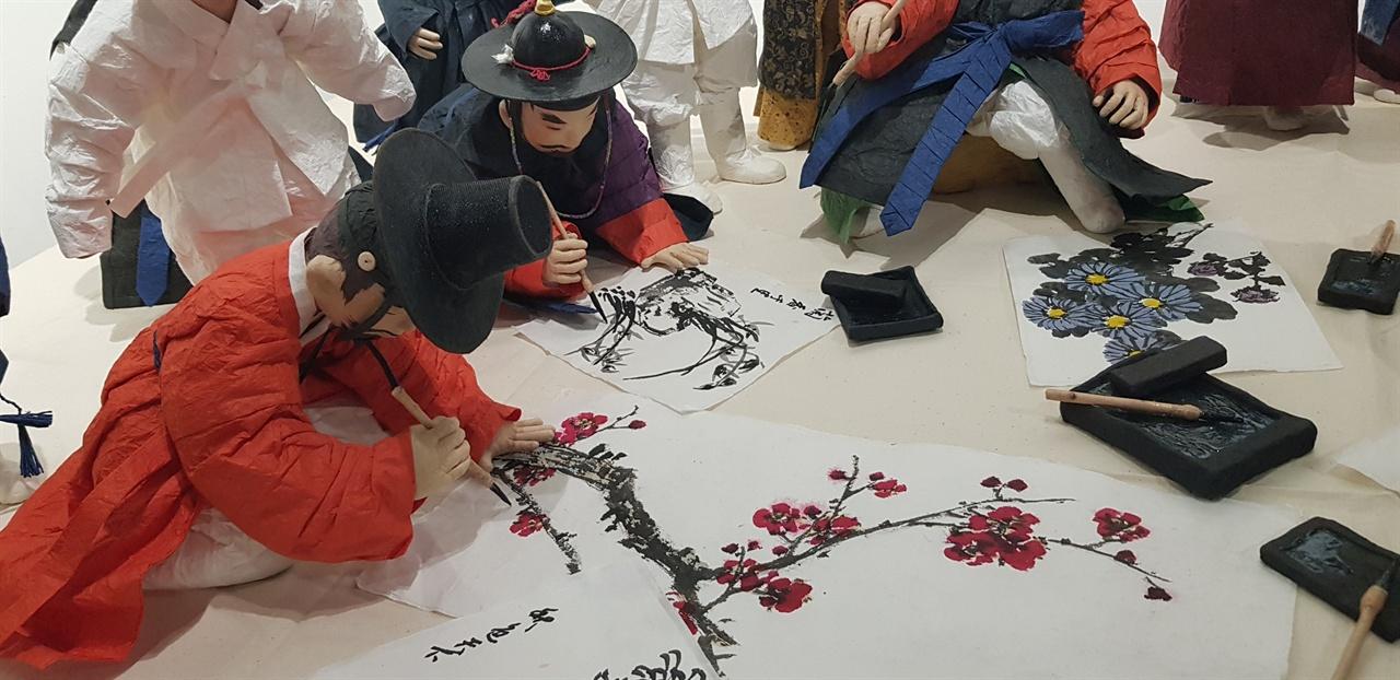 일필휘지로 그림을 그려는 조선통신사 화원들