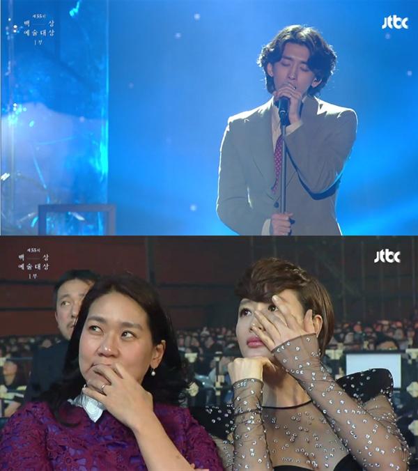 지난 1일 열린 제55회백상예술대상 시상식에 출연한 잔나비는 김혜수 등 몇몇 참석자들의 눈물샘을 자극하는 공연 무대를 연출했다. (방송화면 캡쳐)