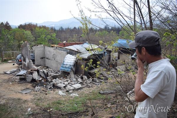 고성군 토성면 천진초등학교 체육관에 차려진 이재민 대피소의 모습.