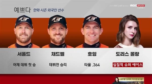 지난 3월 30일 MBC스포츠플러스가 방송한 2019 프로야구 NC-한화의 경기 중계 화면