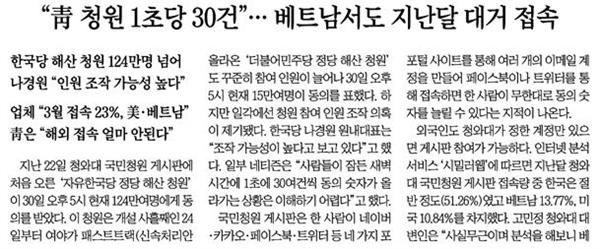 △청와대 청원 조작설 제기하는 조선일보 기사(5/1)