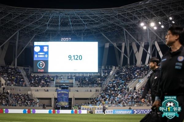 2019년 5월 3일 DGB 대구은행파크(포레스트 아레나)에서 열린 K리그1 대구 FC와 상주 상무의 경기. 이날 9120명의 관중이 경기장을 찾았다.