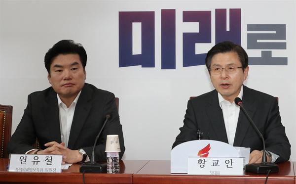 자유한국당 황교안 대표가 지난 5일 오후 국회에서 열린 북핵외교안보특별위원회의에서 발언하고 있다.