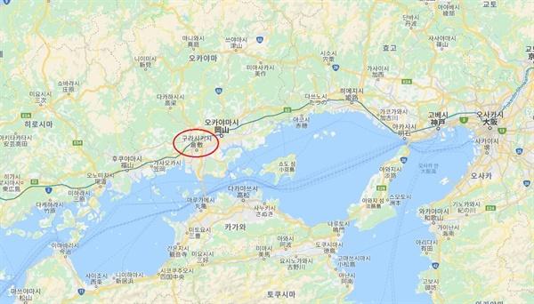 구리시키는 일본 혼슈[本州] 오카야마 현[岡山縣]에 위치해 있다