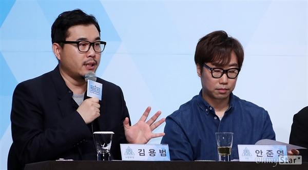 Mnet <프로듀스X101> 제작발표회 현장에서 김용범 전략콘텐츠사업부장(왼쪽)과 안준영 PD가 기자들의 질문에 답하고 있다.
