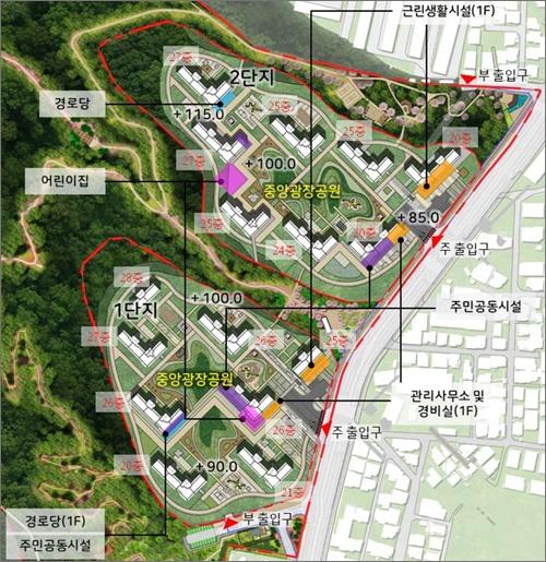 대전 월평공원 정림지구 민간특례사업 건축물 배치도(자료사진).