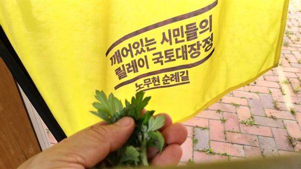 봄내음 거득한 쑥향이 노랑색 현수막을 물들인다.  5월 1일 광화문 광장을 시작으로 5월 22일 경남 봉하마을까지, 22일간 22구간 490킬로미터의 '노무현 순례길' 대장정이 순항 중이다.