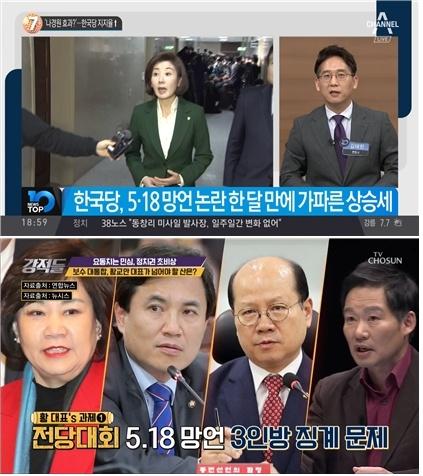 막말이 자유한국당을 결집시켰다는 채널A <뉴스TOP10>(위) (3/14)과 황교안 대표의 '과제'로 5·18 망언 바라본 TV조선 <강적들>(아래) (4/13)