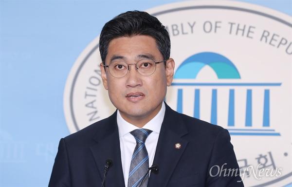 출마선언한 오신환 바른미래당 오신환 의원이 13일 오전 국회 정론관에서 원내대표 출마 선언을 하고 있다.