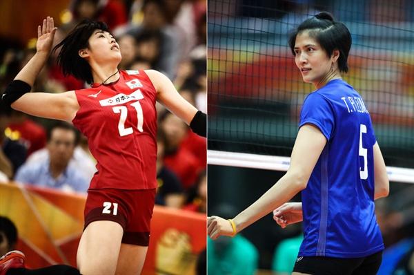 일본 대표팀 구로고(21세·180cm·왼쪽)... 태국 대표팀 쁠름짓(36세·180cm)