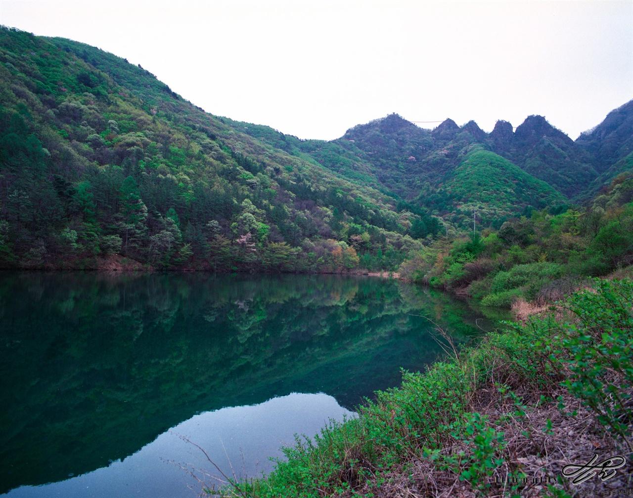 연화제와 구봉산 (Pro400H)구봉산 북쪽에 놓인 작은 저수지. 남쪽을 바라보고 찍기 때문에 역광이 심하다. 역시 다양한 색깔이 산의 경사면을 수놓고 있다.