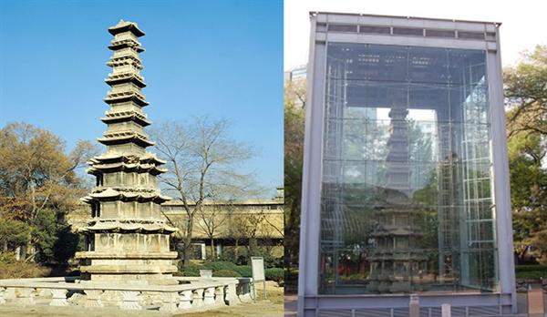 원각사지 십층석탑의 과거와 현재 1990년대 원각사지 십층석탑(좌)2019년 원각사지 십층석탑(우)