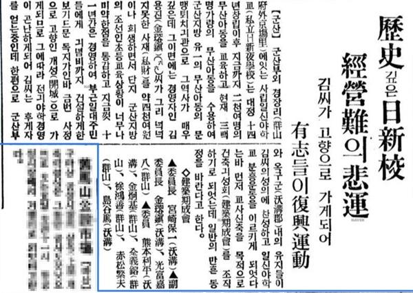 일신야학 부흥운동을 알리는 1935년 12월 4일 치 <동아일보> 기사