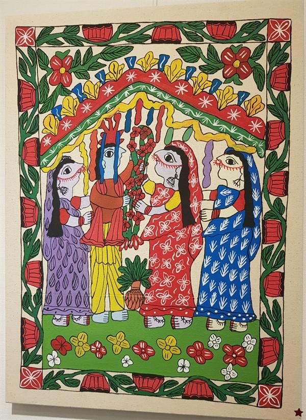 신비하게만 보이는 네팔민화는 네팔 원주민 여인들이 그린 그림이다.