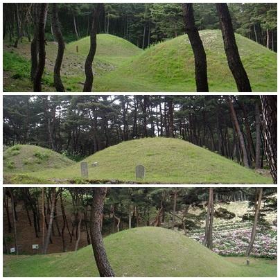 경주 선도산 기슭에 위치한 진지왕릉,헌안왕릉,문성왕릉의 모습