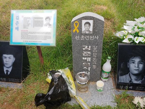 망월동 구묘역에 잠든 김준배 열사 묘역