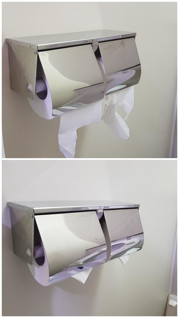 화장실 휴지가 삼각형으로 곱게 접혀 있으면 좋아하지만 멀쩡한 휴지가 낭비되기도 한다.