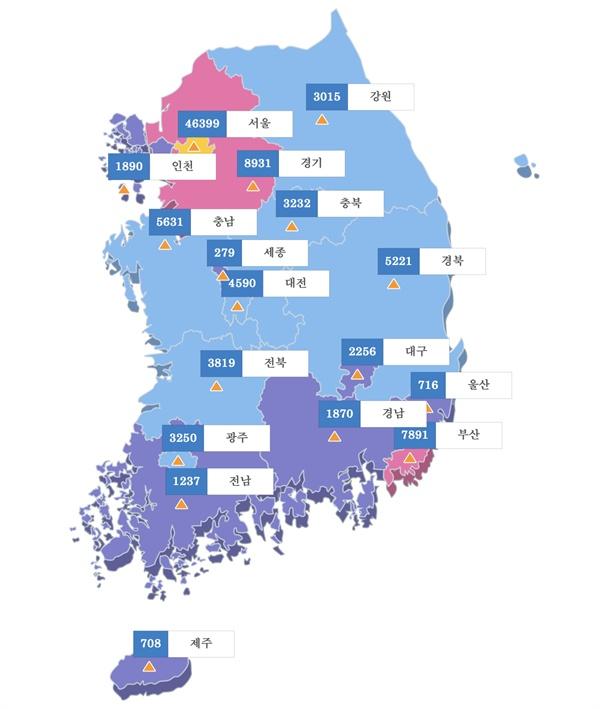 2018년 서울에 재학 중인 외국인 학생 수는 약 4만6천명으로 서울을 제외한 전 지역의 외국인 수를 합산한 것과 맞먹는다.