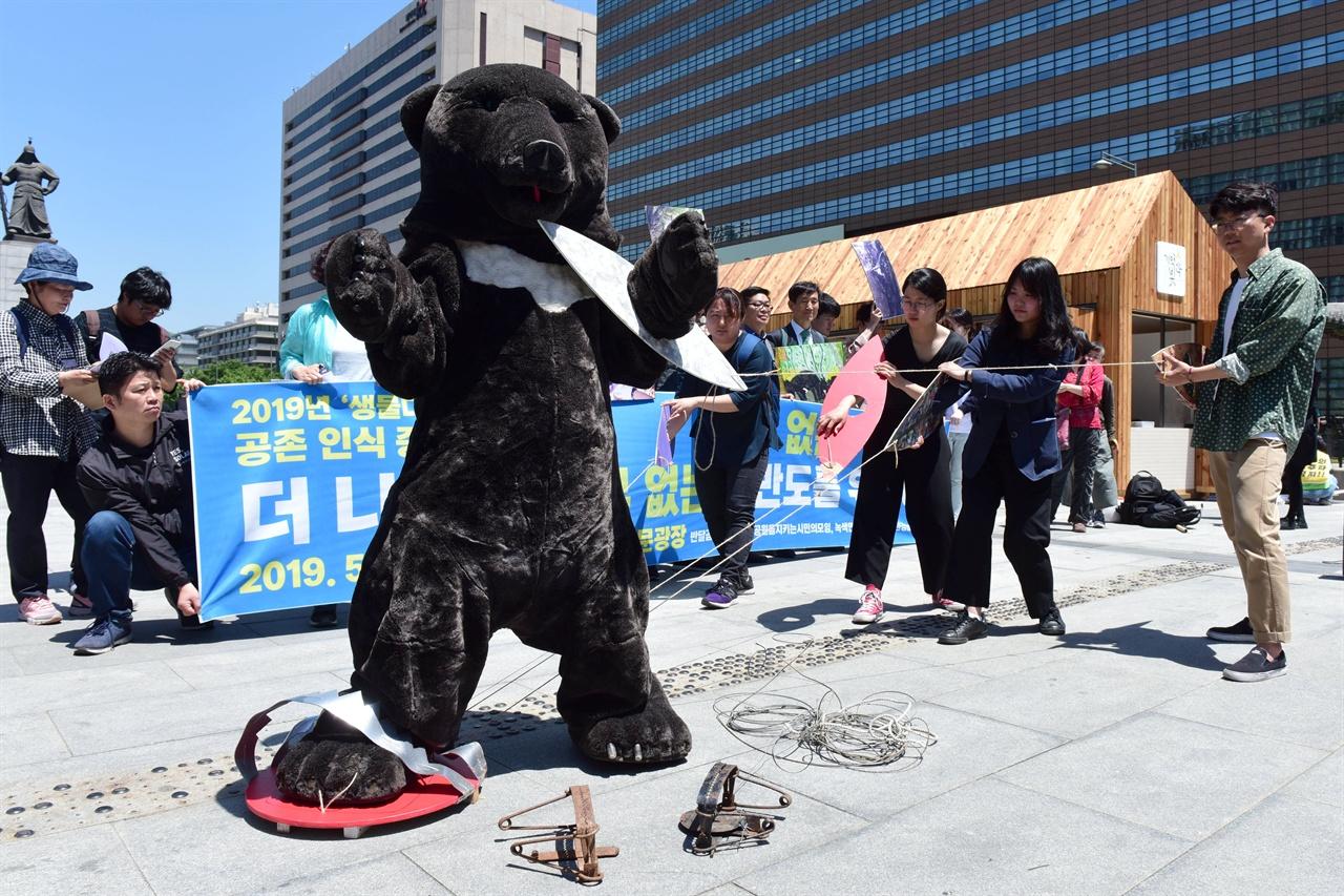 덫에 걸려 더이상 움직이지 못하는 반달곰 국립공원을지키는시민의모임, 녹색연합, 반달곰친구들 등 6개 환경운동단체 회원들이 21일 오전 서울 종로구 광화문광장에서 대형 덫에 걸려 더이상 움직일수 없는 반달곰을 표현하는 퍼포먼스를 진행하고 있다. 2019.05.21