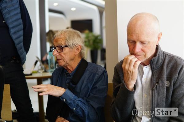 영화 <쏘리 위 미스드 유>를 연출한 켄 로치(Ken loach) 감독(왼쪽)과 각본을 쓴 폴 래버티(Paul Laverty).