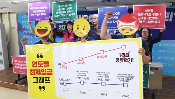 지난 5월 21일 오후 서울 정동 민주노총에서 회원들이 최저임금 개악 피해사례 고발 퍼포먼스를 하고 있다.
