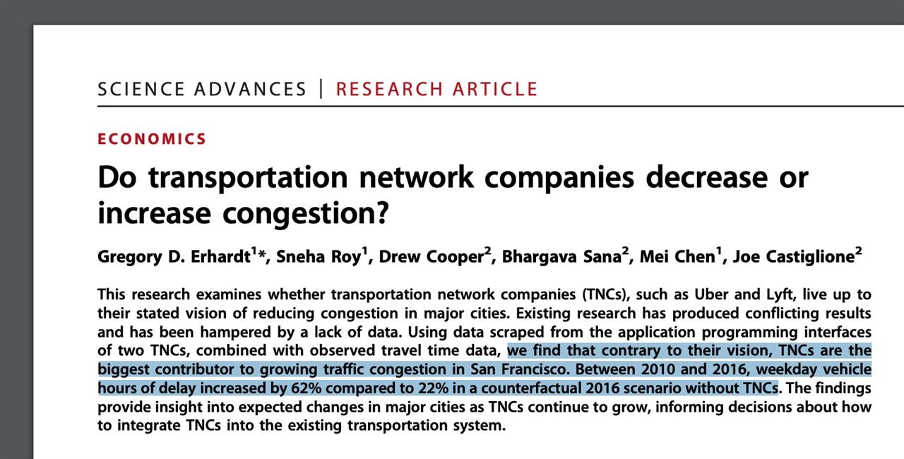 최근 학술지 <사이언스 어드밴시스>에 수록된 논문. 저자들은 승차공유 서비스가 도로 정체를 악화시키는 주범이라고 결론지었다.