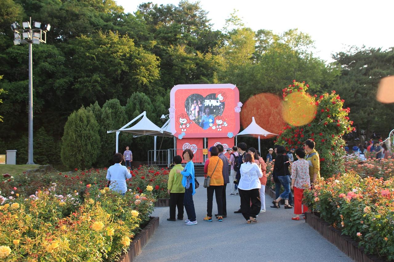 """울산대공원 """"내 이름은 장미"""" 사진관 앞에서 사진 촬영을 위해 기다리는 모습"""