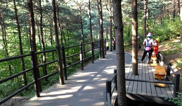 휠체어 탄 사람도 오갈 수 있는 무장애 숲길.