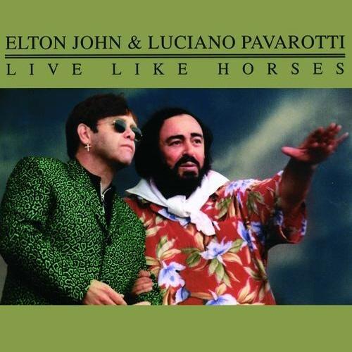 엘튼 존과 성악가 루치아노 파바로티의 싱글 < Live LIke Horses > 표지.  그동안 수많은 유명 음악인들과의 협업으로 다양한 작품을 만들어낸 바 있다.