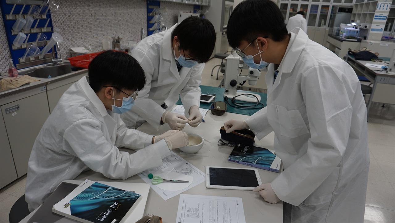 과학실험 IB 후보학교인 충남삼성고의 과학실험 수업 장면.