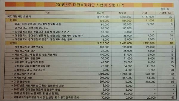 대전복지재단(대표이사 정관성)이 <오마이뉴스>에 제공한 2018년 사업비 집행내역 및 잔액(불용액).