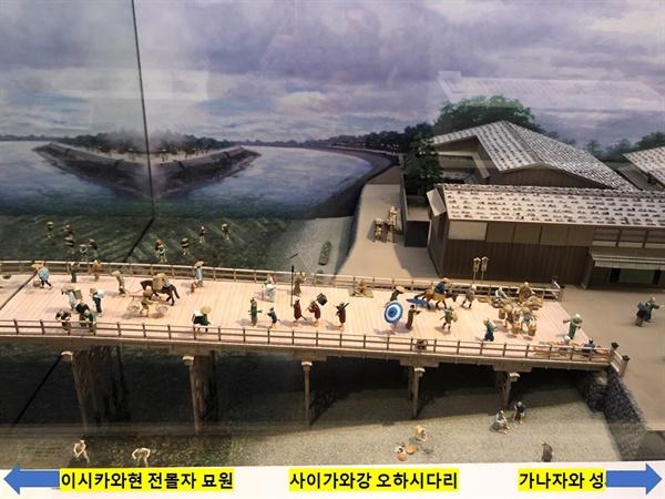 이시가와현립 역사박물관 모형 : 사이가와강 오하시다리 .