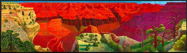 <더 큰 그랜드 캐년>(1998) 이 작품은 기존에 완성한 포토콜라주 중 하나인 <전경에 암벽이 있는 그랜드 캐니언, 애리조나>(1982)를 참조했다. 60개의 캔버스를 이어붙인 작품으로 길이 7M에 높이는 2M다.