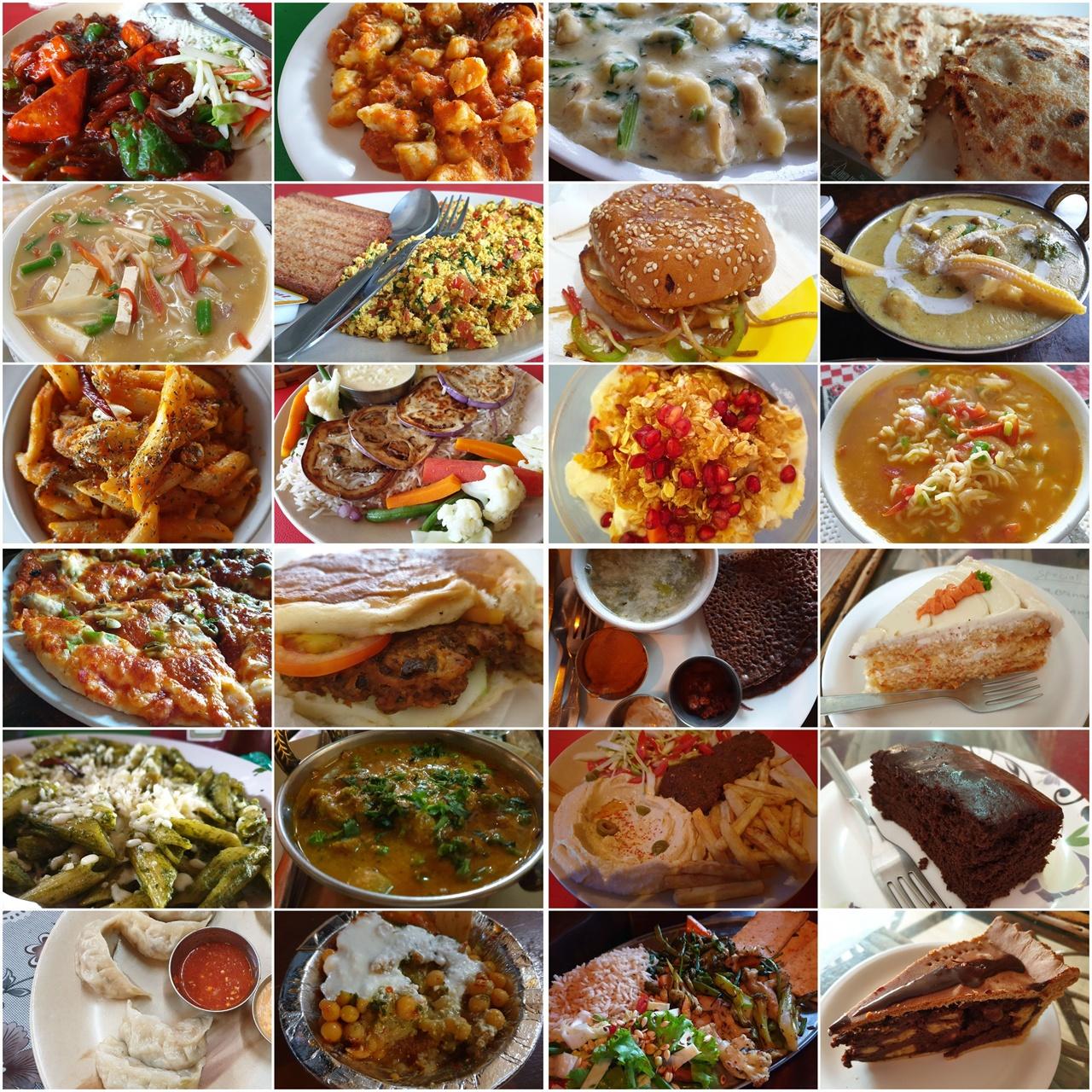 인도 북부의 '리시케시'에서 먹었던 다채로운 채식 음식. 유제품이 들어간 일부 메뉴를 제외하면 모두 비건이다.