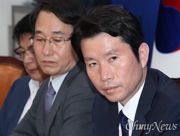 더불어민주당 이인영 원내대표가 30일 오전 국회에서 정책조정회의를 주재하고 있다.