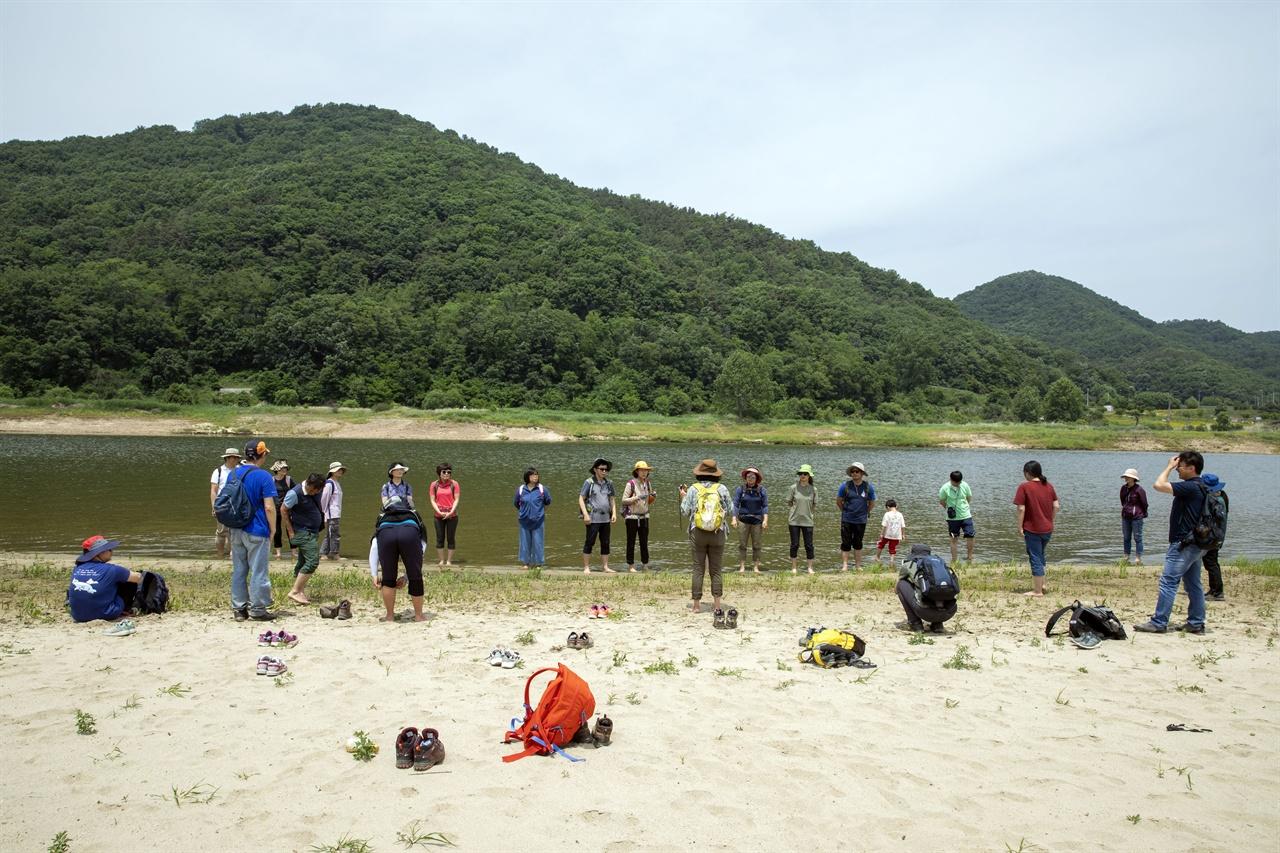 금강의 친수기능 금강 공주보 상류에 형성되고 있는 모래밭을 맨발로 걸은 후 금강을 직접 느끼기 위해 강물 속으로 들어간 트레킹 참가자들