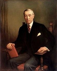 미국 제28대 대통령 우드로 윌슨 초상화 민족자결론을 주창한 윌슨 대통령
