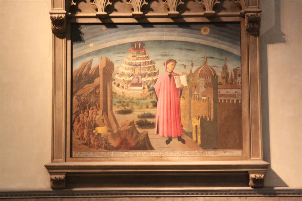 피렌체를 바라보는 단테(산타 마리아 델 피오레 내부)  정쟁에 휩쓸려 추방당한 단테가 피렌체 성벽 밖에서 피렌체를 바라보고 있다. 단테는 평생 피렌체를 그리워 했지만 결국 라벤나에서 숨을 거두었다. 본명은 듀란테(Durante)이고 단테는 약칭이다.