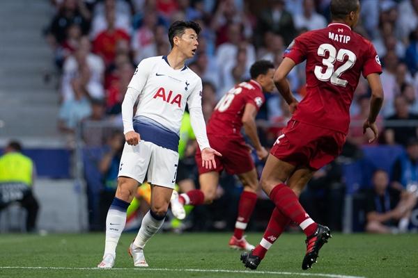 2일 새벽(한국 시각) 2018-19시즌 유럽축구연맹(UEFA) 챔피언스리그 결승전에 나선 토트넘 홋스퍼의 손흥민.