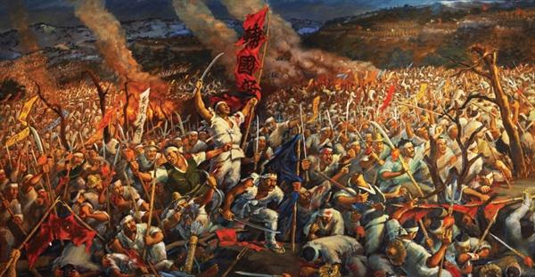 1894년(고종31) 동학농민운동 당시 농민군과 조선-일본 연합군이 공주 우금치에서 벌인 전투 기록화.