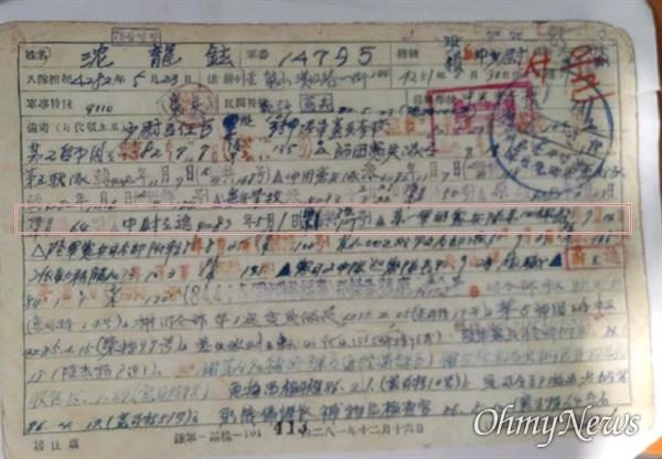 심용현 전 성신학원 이사장이 생전 직접 쓴 자필 이력서(자력서). '중위로 진급 4283년(1950년) 5월 1일, 제 1군단 헌병 제4과장 발령 7월 14일'이라고 썼다.