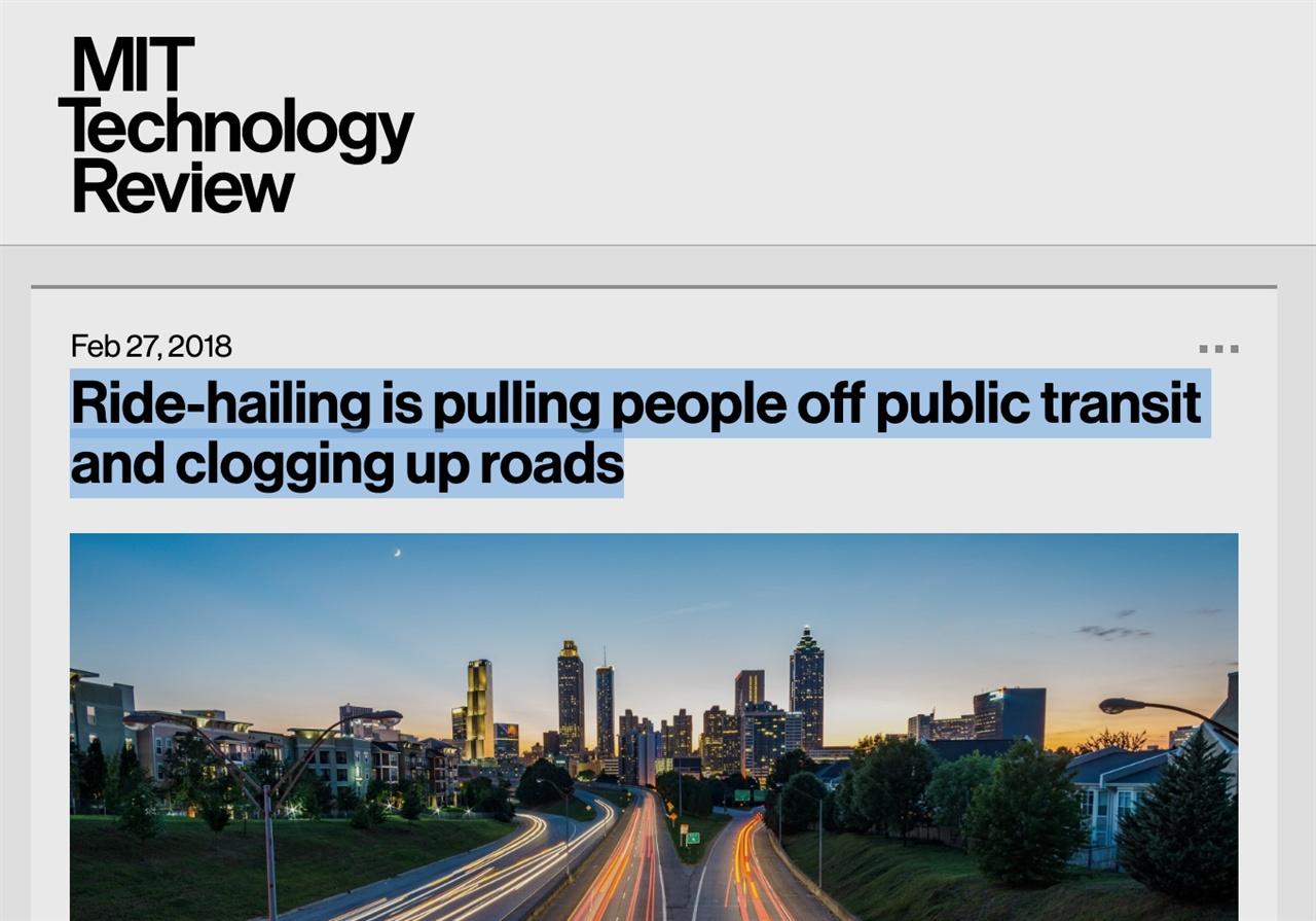 서비스 도입 초기의 약속과 달리, 승차공유 서비스는 도로정체를 악화시킬뿐 아니라, 대중교통을 파괴하는 주범이라는 비판을 받고 있다.