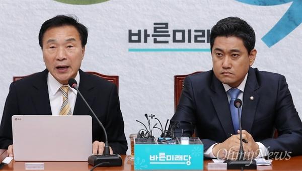 바른미래당 손학규 대표가 지난 5월 27일 오전 국회에서 열린 최고위원회의에서 모두발언을 하고 있다. 오른쪽은 오신환 원내대표.