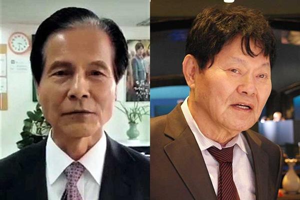 영화인총연합회 회장 선거에 출마한 지상학 현 회장과 정진우 감독