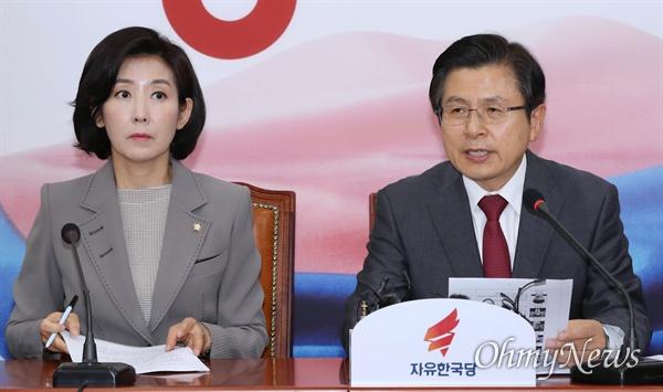 자유한국당 황교안 대표가 10일 오전 국회에서 열린 최고위원회의에서 모두발언을 하고 있다. 왼쪽은 나경원 원내대표.