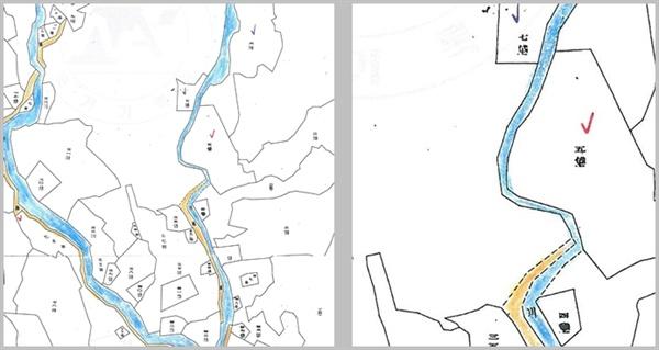 < 그림2 > 토지조사사업 직후의 5번지(좌)와 일부를 확대한 부분(우) 1924년 조선총독부 임시토지조사국, 경기도 고양군 숭인면 성북리 지적원도