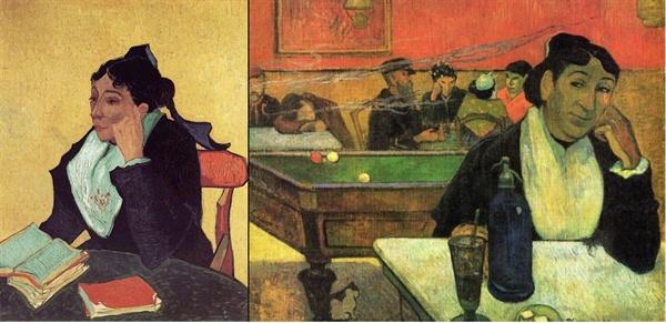 왼쪽은 '아를의 여인'(빈센트 반 고흐,1888, 오테를로,크뢸러뮐러 미술관). 오른쪽은 '아를의 밤의 카페'(폴 고갱, 1888, 모스크바 푸슈킨 미술관)
