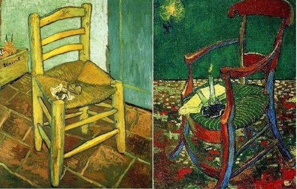 왼쪽은 '반 고흐의 의자'(빈센트 반 고흐,1888, 런던 국립미술관). 오른쪽은 '고갱의 의자'(빈센트 반 고흐, 1888, 암스테르담 반 고흐 미술관)
